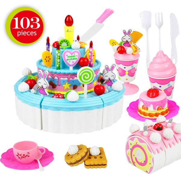 New 12 Styles Kids Cartoon Animal Cake Pretend Play Kitchen Toys Fruit Cutting Birthday Cake Sets Play House Toy for Girls Gifts