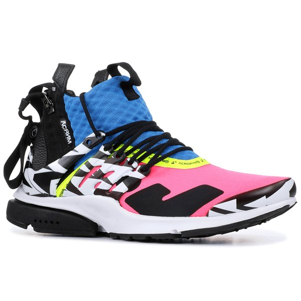 Acronym X Presto Mid Mens Shoes Multi Color Cool Grey Racer Pink Med Olive Running Shoes Trainers Women Fashion Designer Sneakers 36-45