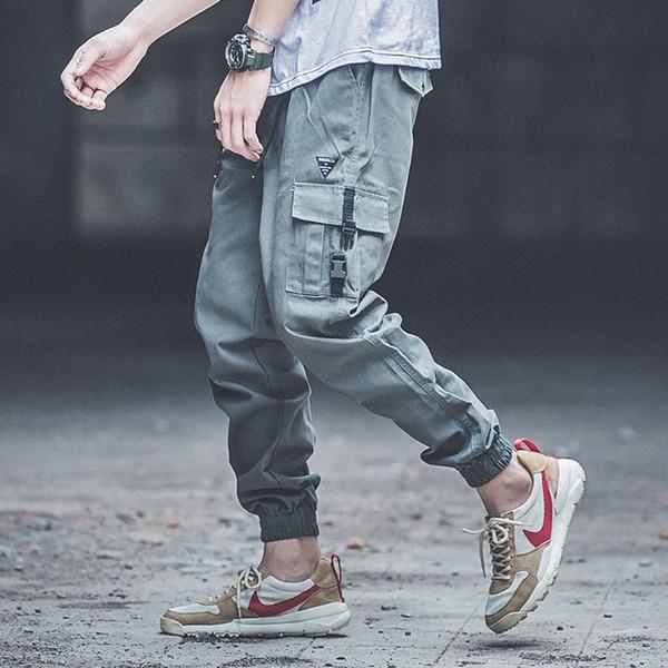 Punk Style Fashion Mens Jeans Army Green Loose Fit Jogger Pants Khaki Color Hip Hop Jeans Big Pocket Cargo Pants pantalon hombre