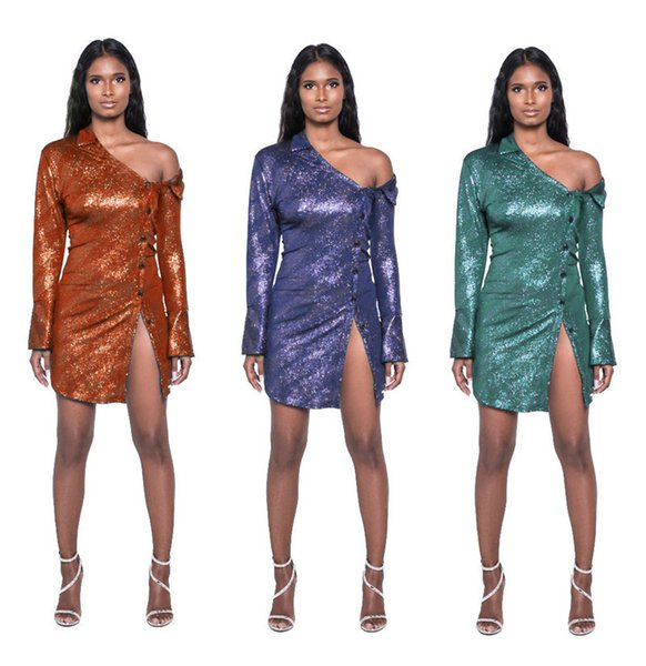 Fashion One Shoulder Sparkly Long Sleeve Shirt Dress Women Asymmetrical Collard Button Down Front Split Sexy Mini Dress Vestidos