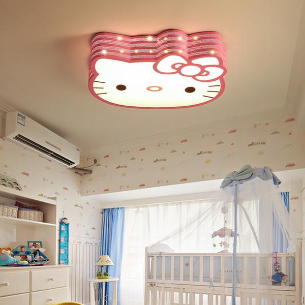 Hello kitty lamp Children Kids Girl room Chandeliers Lamp Bedroom Bedside Nursery Decor Pink White Color Ceiling Lamp Fixtures