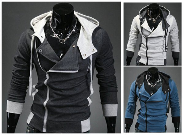 Men's Casual Fashion Oblique Zipper Slim Fit Top Designed Hoodies men Jackets
