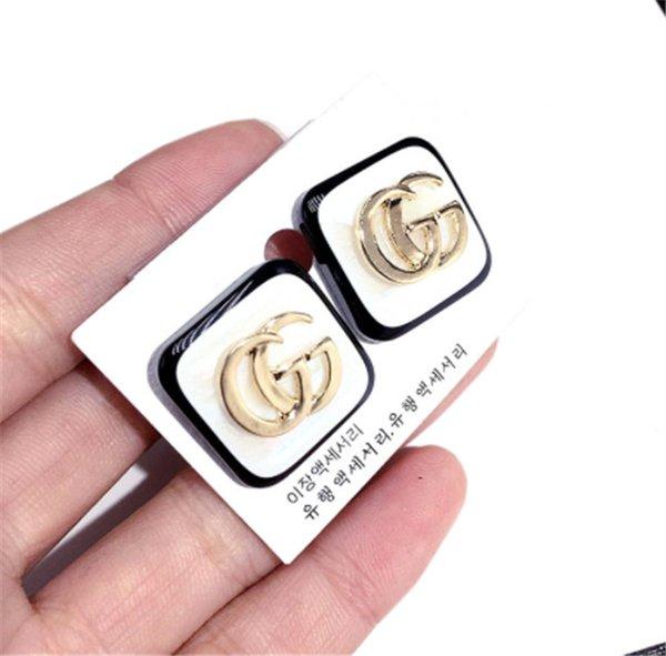 Marca de diseñador de moda de lujo, letra G, pendientes de plata chapados en oro al por mayor para la joyería del partido de las señoras