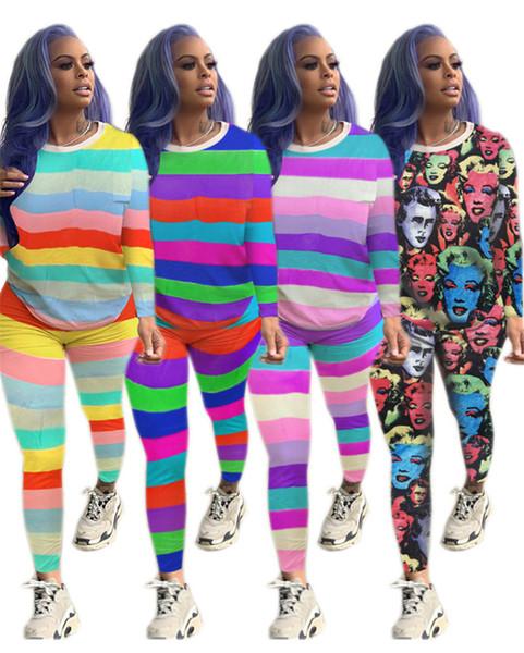 Женщины Большой размер из двух частей набор полосатые толстовки + брюки наряды пуловер спортивные костюмы рубашки спортивная одежда осень повседневная одежда спортивный костюм 1499