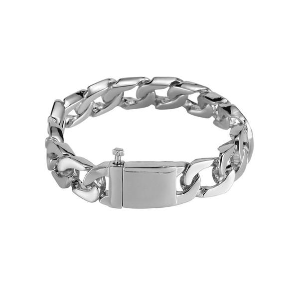 Men Hip Hop Stainless Steel Jewelry Man Charm Bracelet Bangles Fashion Silver/Gold Color Link Chain Bracelets For Men