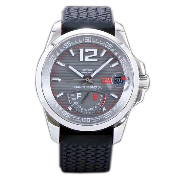 Best Edition Miglia GT XL 168457-3001 Steel Case Real Power Reserve Gray Dial ETA A2824-2 Automatic Mens Watch Black Rubber Strap New FK.c03