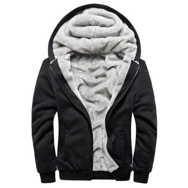 Мужская дизайнер зима толстая теплая флисовая подкладка толстовка с карманами полный Zip толстовка ветрозащитный пуловер с капюшоном на открытом воздухе повседневная джемпер куртка
