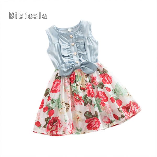 BibiCola infant girls summer dress fashion baby girls sleeveless denim flower dress kids princess dresses child girls clothing