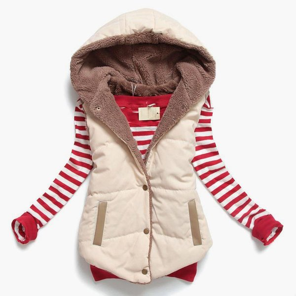 2017 Yeni moda Bahar Sonbahar Yelek Kadın Ceket Kadın Kolsuz Ceket Sıcak Pamuk Kapşonlu Kış Artı Boyutu Yelek kadın