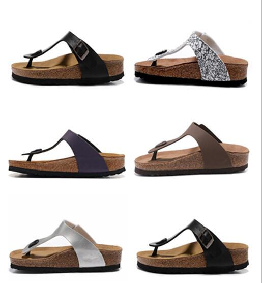 top popular 2020 Gizeh slippers Man and woman Open Toe Sandals,Summer Beach Slippers Genuine Leather Flats Free Cork slippers US3-15 2020
