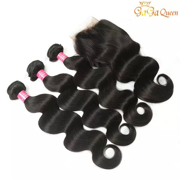 8A бразильские девственные волосы с закрытием расширения 3 пучки бразильский объемная волна волос с 4x4 кружева закрытия необработанные Реми человеческих волос Weave
