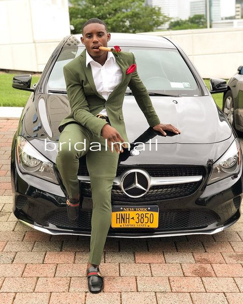 2019 Couple Prom Cheap Olive Green Mens Suits Slim Fit Two Pieces Groomsmen Wedding Tuxedos For Men Formal Prom Suit (Jacket+Pants)
