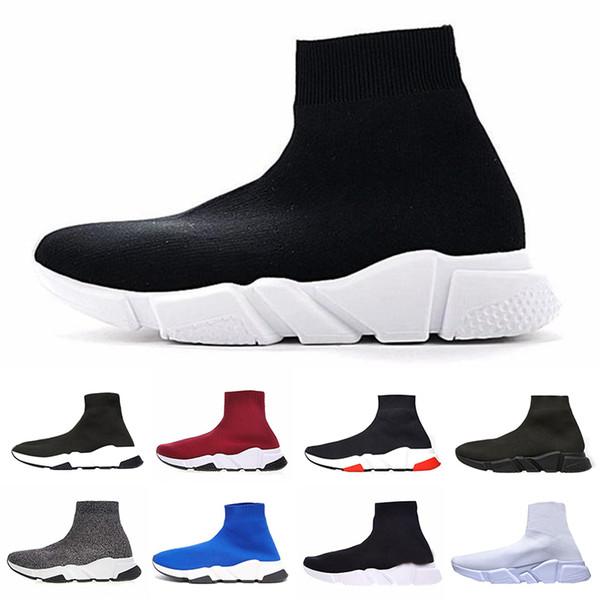 Alta calidad de lujo del zapato del calcetín zapatillas de deporte de velocidad zapatillas de deporte del entrenador de la velocidad del corredor de la carrera del zapato negro hombres y mujeres zapatos deportivos 36-46