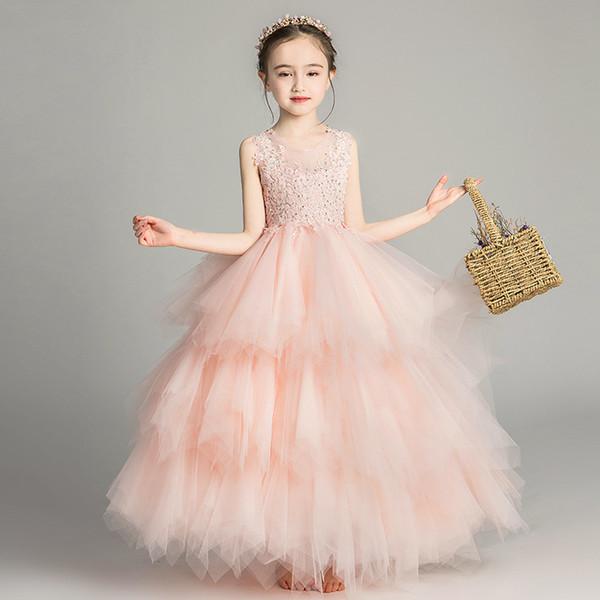 Abiti Flower Girl per abiti da sposa in pizzo vintage netto neonata festa di compleanno di Natale Prima Comunione abiti della ragazza dei bambini partito