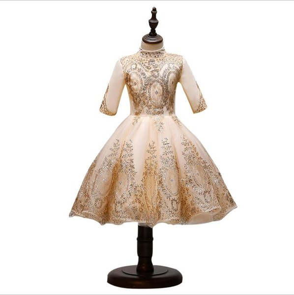 Sequin Lace Tulle Flower Girl Dresses For Wedding Ball Gown Princess Girls Pageant Gowns Long Sleeve Children First Communion Dress