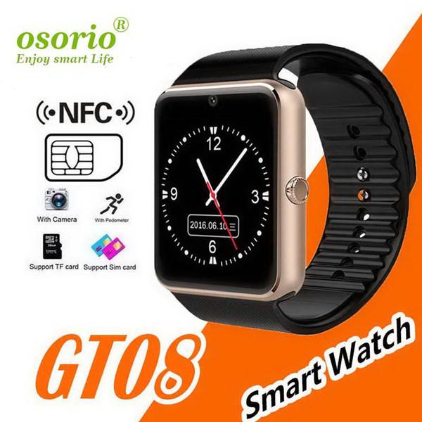 GT08 Bluetooth relógio inteligente com slot para cartão SIM e Designer de luxo NFC Saúde Relógios Android e para a banda iWatch IOS da Apple DZ09 relógio inteligente