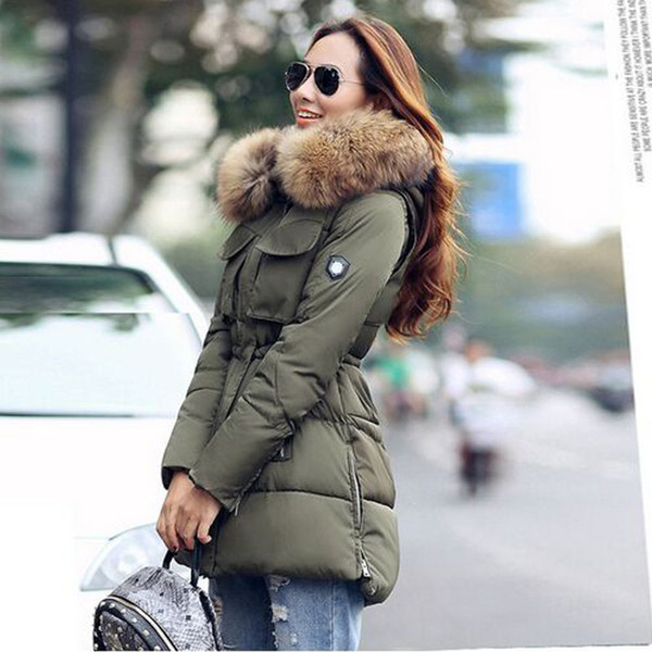 TOP Quality Large Real Natural Raccoon Fur 2017 Winter Jacket Women Hooded Thick For Women Winter Parka Fashion Coat