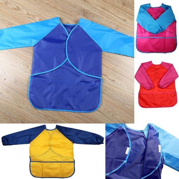 Çocuk Önlükleri Önlük Giysi Çocuklar Su Geçirmez Boya Önlükleri Bebek Yeme Yemek Yemek Uzun Kollu Smock 5-7Years FA2744 için Uygun