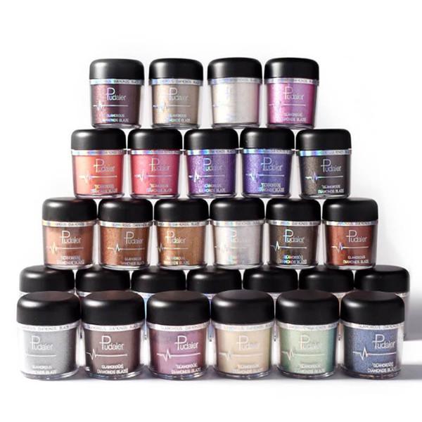 Sombra de ojos con brillo Pigmentos en polvo Sombra de ojos Fácil de usar Brillo impermeable Cosméticos Cosméticos Maquillaje Color metálico único 2018