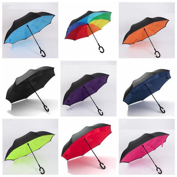Windproof Folding Umbrella C Handle Reverse Umbrellas Inverted Double Layer Outdoor Sunny Rainy C-Hook Handsfree Umbrella for Car YP7335