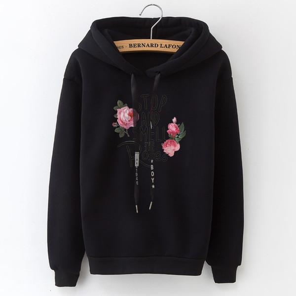 2019 Kadın Kapşonlu Sweatshirt Yeni Casual En Aplike Harfler Katı İnce Kadın Moda Top Siyah ve Beyaz Gri Pembe SH190917 Rose