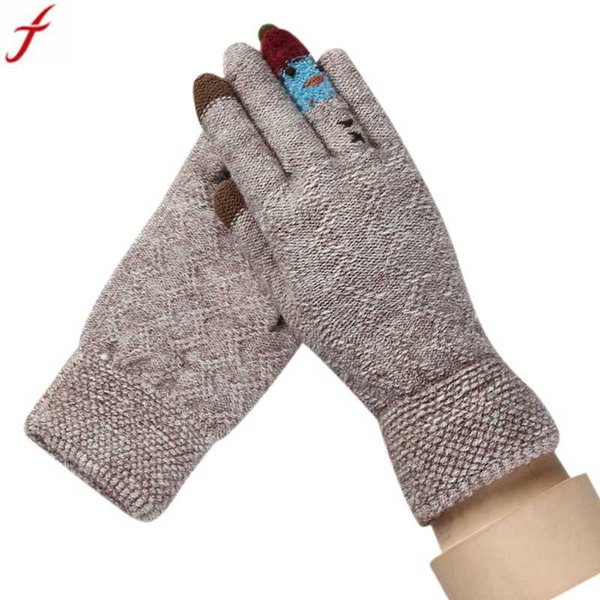 2017 Fashion Winter Women Acrylic Gloves Full Finger Knitted Warm Glove Mittens Warmer Christmas Luvas gloves gym