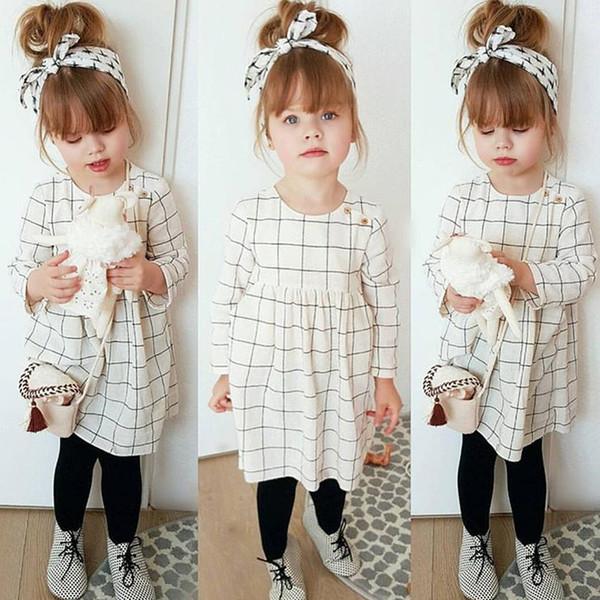 Compre Para 2 6 Anos De Ternos Infantis Primavera E Outono Modelos Meninas De Mangas Compridas Vestido Xadrez Headband Dois Conjuntos De Roupas
