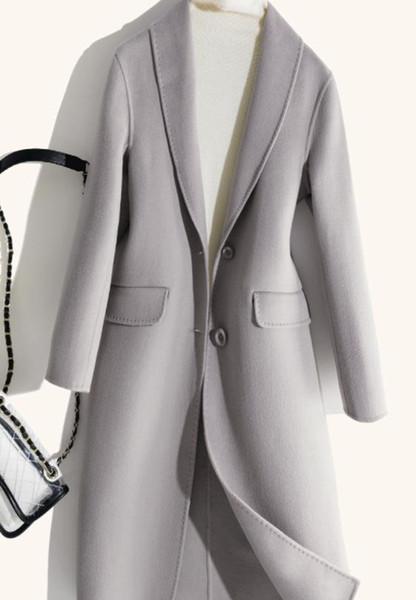 2019 nuova moda girovita high-end 100% lana double face Hepburn wind double face cappotto in cashmere femminile lungo cappotto di lana grigio