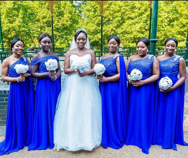 Royal Blue Chiffon damigella d'onore una spalla africano sposa Wedding Party abiti con paillettes involucri Maid of Honor Abiti