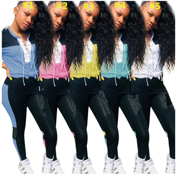 Letter Print Women Tracksuit Short Sleeve Lace T-shirt Crop Top + Striped Pants Leggings 2 Piece Set Brand Designer Outfits Summer Clothing