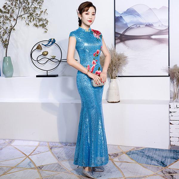 Céu azul lady lantejoulas bordado flor cheongsam chinês prom dress requintado elegante sexy longo vestidos de festa vestidos qipao