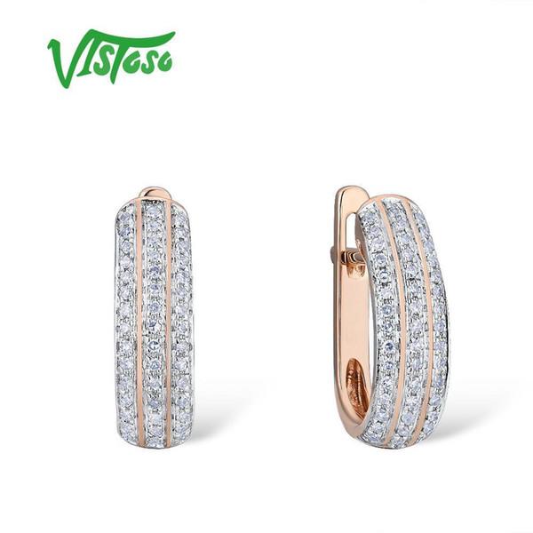 Vistoso золотые серьги для женщин 14k 585 розовое золото игристое игристое роскошный бриллиант обручальное кольцо участие модные изысканные ювелирные изделия Y19052301