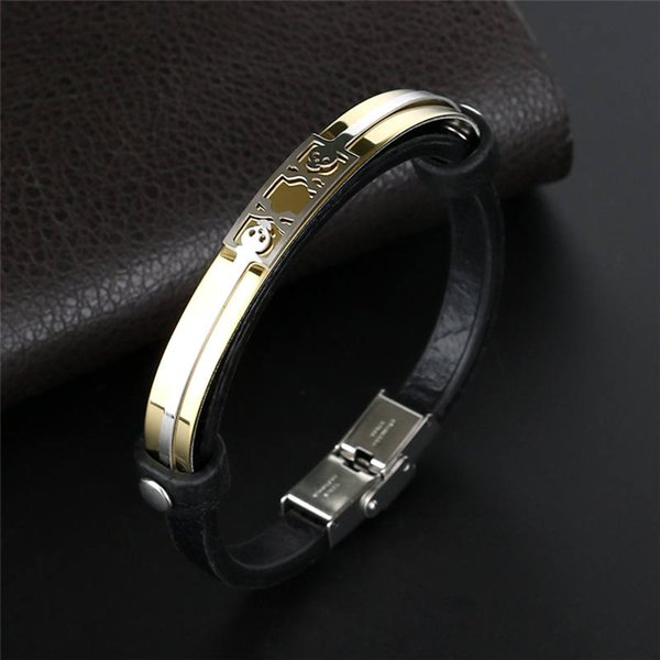Men Genuine Leather Gold Gothic Skull Bracelets Rock Punk High Quality Stainless Steel Charms Cuff Bracelets Bangles for Women B097