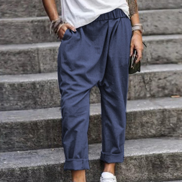 Pantalons pour femmes Plus la taille de la mode des poches de plage Pantalons décontractés Pantalons à taille élastique