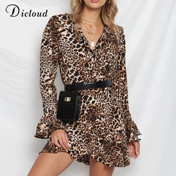 Dicloud Leopard Mujeres Otoño Invierno de la colmena de manga larga con cuello en V Sexy Bodycon Mini vestido Casual Wrap Party Vestidos De Fiesta Q190417