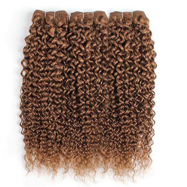 #30 Light Golden Brown Brazilian Virgin Curly Human Hair Weave Bundles Jerry Curl 3/4 Bundles 16-24 Inch Remy Human Hair Extensions