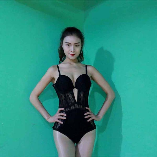 Trajes de Dança Jazz Bodysuit Lace Sexy Outfits Para A Mulher Hip Hop Roupas Dj Ds Gogo Cantor Boate Stage Wear Mulheres PY120