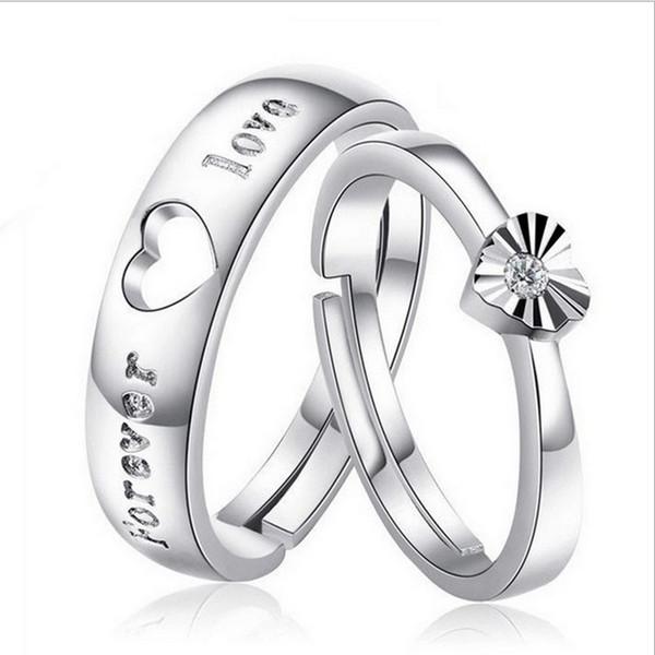 S925 Silver Lovers Ring Bijoux Coréens Lovers Ring Amour Bague Ouverture Valentine \ 'S Day Cadeau Pour Envoyer Son Amie Un Cadeau