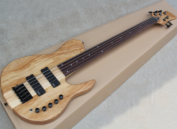 top popular Free Shipping 5 Strings Natural Fretless Electric Bass with EMG Pickups,Neck-thru-body,Rosewood Fingerboard,Can be Customized 2021