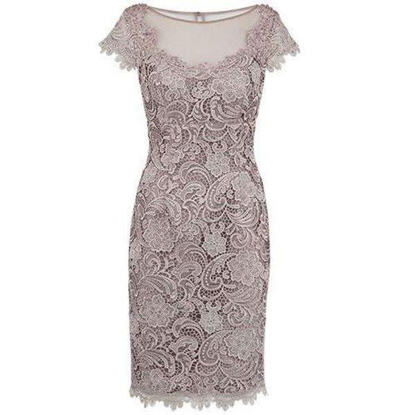 Vintage Lace Mother Dresses Short Sleeve Sheath Lace Appliques Jewel Neck Mother of the Bride Dress Knee Length Formal Wear