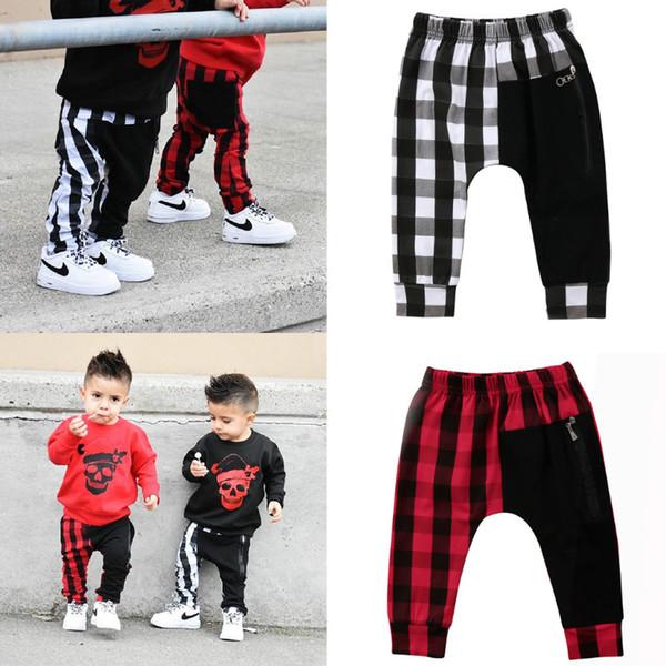 2019 Serin Boy Harem Pantolon Yürüyor Çocuk Erkek Bebek Kırmızı Ekose Uzun Pantolon Pantolon Tayt Bebek Erkek