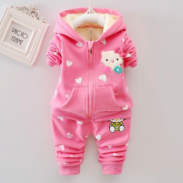 good quality baby girls clothing set autumn toddler clothing cartoon cat hooded t-shirt+pants 2pcs bebe sport suit newborn clothes