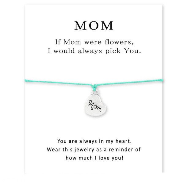 MOM were flower wish bracelet with card Heart shape charm Wax rope chain Bangle bracelet For women Jewelry mother's day best gift