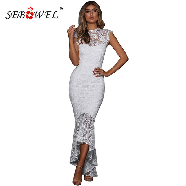 bb9f6fdc59ee SEBOWEL Spring Sexy Embroidered Wedding White Lace Mermaid Party Dress  Women Elegant Sleeveless Bodycon Lace Midi Long Dresses