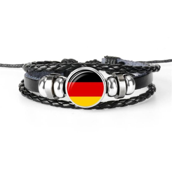 Women Men Hand Multilayer Cowhide Leather Rope Beaded Jewelry Glass Cabochon Germany National Flag World Cup Football Fan Bracelet & Bangles