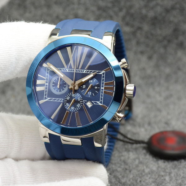 successful men watch marine ceramic bezel blue dial chronograph quartz battery executive dual time rubber strap wristwatches mens watches, Slivery;brown