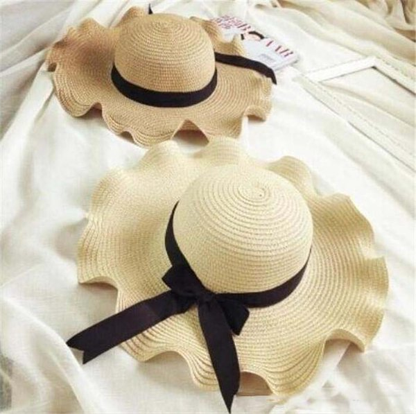 100pcs Summer Lady Wide Brim Hats Beach Casual Sun Protection Caps for Women Foldable Straw Hat Bohemian Sunscreen Caps