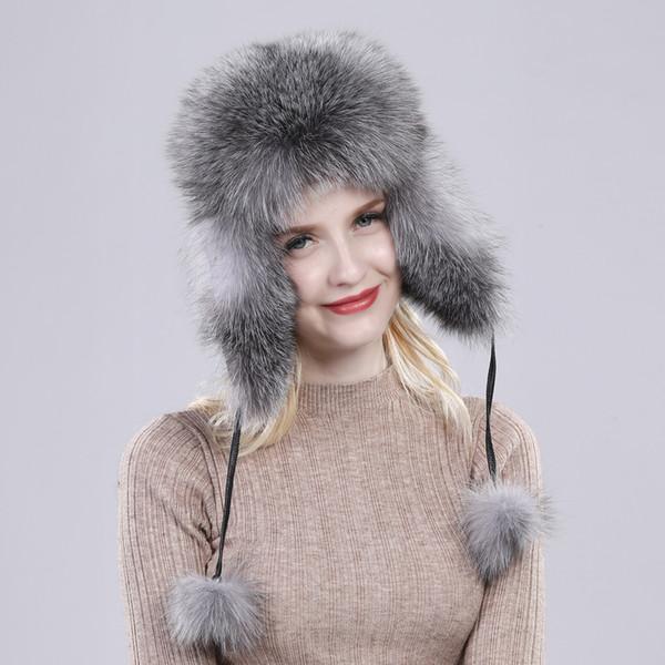 Fur Hat For Women Natural Raccoon Fox Fur Russian Ushanka Hats Winter Thick Warm Ears Fashion Bomber Cap Black New Arrival