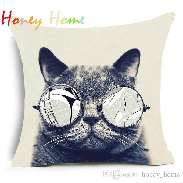 Trippy Cat Polyester Cushion Cover Gentlemen Pop Art Creative Cat Animal Home Decorative Pillow Case for Sofa Car Cojines