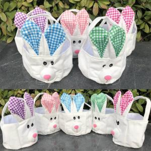 Plaid Easter Basket with Bunny Ears Rabbit Basket Cute Easter Gift Bag portable Rabbit Ears Put Easter Eggs AAA1656